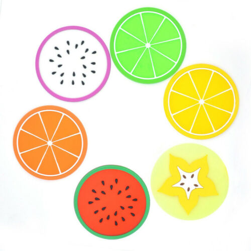6X Mat Colorful Fruit Print Placemat Pot Holder Table Silicone Coasters Set D2K4