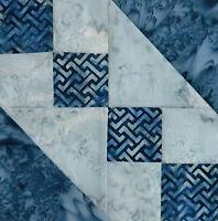 { 16 } Pre-sewn Already Pieced Underground Railroad Batik Quilt Blocks Blue