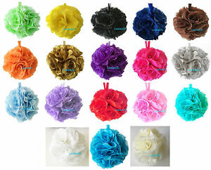 "6"" Flower Kissing Ball Wedding Silk Rose Party Pomander - 20 Colors available"