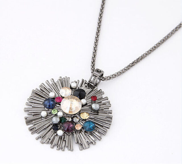 Fashion Vintage Shiny Multicolor Crystal Pendant Necklace Long Sweater Chain