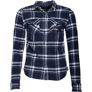 Blue Check Extra Superdry Extra Bnwt Atlantic Womens Small Milled Flanel Shirt YYAfXwS