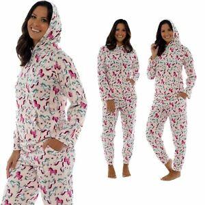 Damenmode Damenunterwäsche Hingebungsvoll Ladies Unicorn Print Pink Hooded Twosie Pyjama With Pockets Soft Fleece