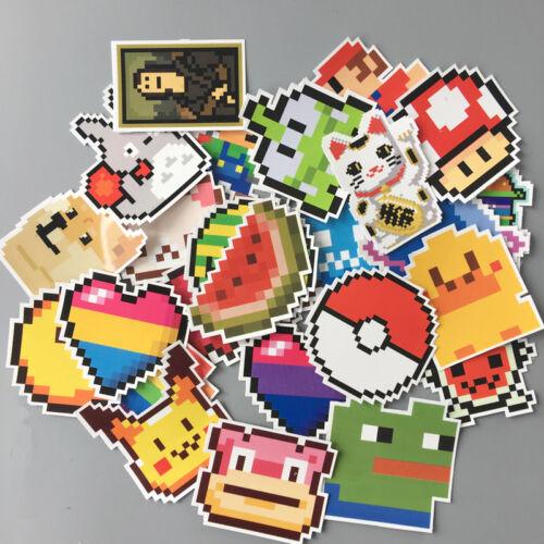 25Pcs Pixel Stickers Cartoon Mario Pikachu Dope Decals Laptop Travel Case Guitar