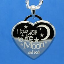 I LOVE YOU TO THE MOON AND BACK PENDANT NECKLACE - ENGRAVE A MESSAGE ON BACK