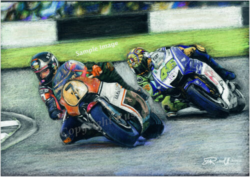ART PRINT Barry Sheene /& Valentino Rossi MotoGP A4 A3 A2 drawing by RussellArt