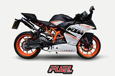 KTM RC125 14+ Hi nivel F1R Race Negro SS estilo Moto GP Escape + Soporte Negro