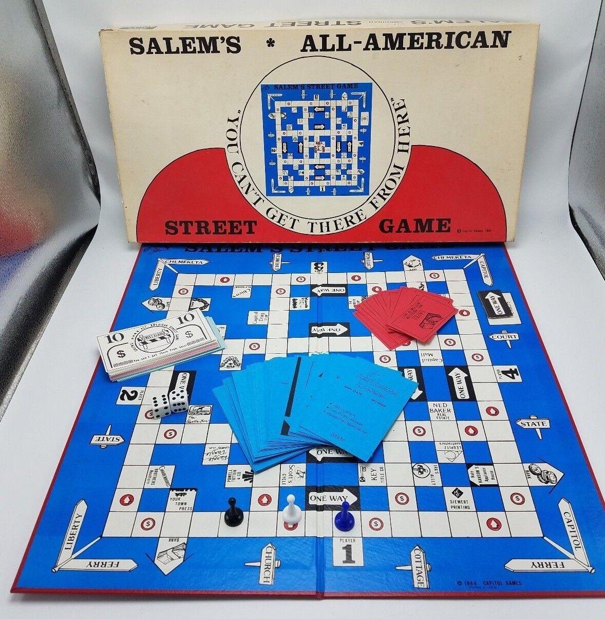Muy Rara Vintage 1984 Salem's All-American Street juego con Bono ephemera