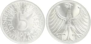 5 DM J.387 Silver Currency Coin 1974 F Mint State