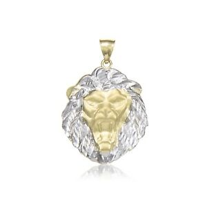 10K Solid Yellow White Gold Lion Head Pendant - Face Necklace Charm ... 8c69ab41f9