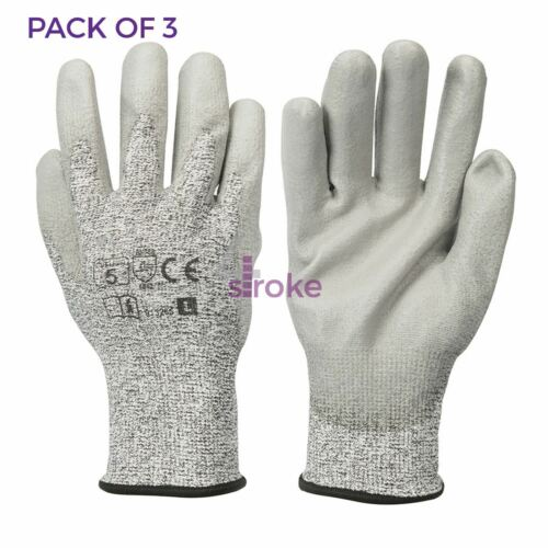 PU Palm Coated Work Gloves Garden Garage Cut Protection Very Strong Durable