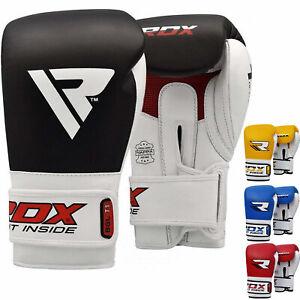 RDX-Boxing-Gloves-Leather-Quick-EZ-Hook-amp-Loop-Diado-Cuff-MMA-Fighting-Muay-Thai