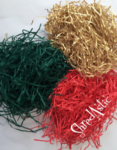 ShredAstic ® 50g Mix Shredded Paper Gold,Spruce Green Red  Xmas Kraft Gift