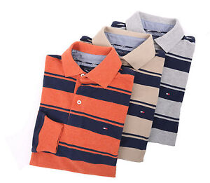 Tommy-Hilfiger-Men-039-s-Long-Sleeve-Classic-Fit-Striped-Polo-Rugby-0-Free-Ship