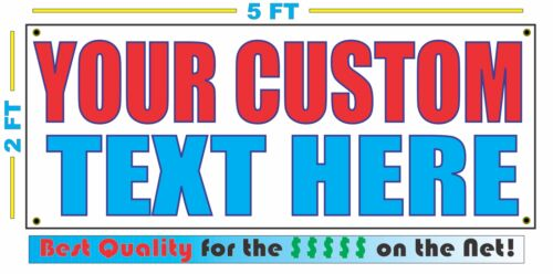 CUSTOM TEXT 6 WORDS Banner Sign NEW Larger Size Best Quality for The $$$