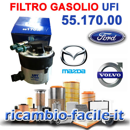 FILTRO GASOLIO UFI 5517000 FORD FOCUS II C-MAX 1600 TDCI 2005 />