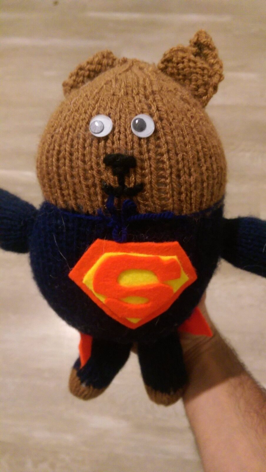 Rare Handmade Homemade Superman Cat Soft Doll Figure Man Of Steel Vintage Wool