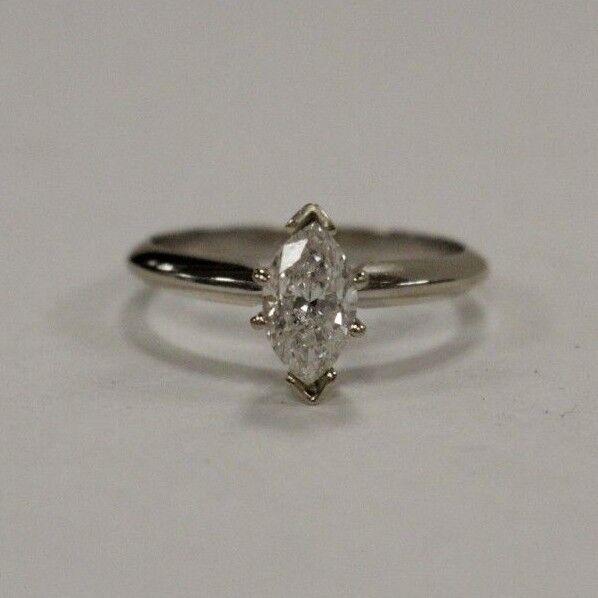 (MA2) Ladies' 0.74 TCW Diamond Solitaire 14k 2.3g White gold Ring Size 5.75
