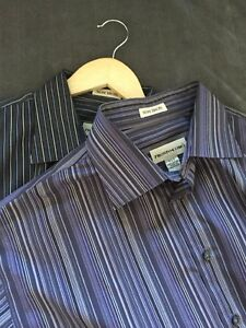 Pronto Uomo Mens No Iron Dress Shirt Striped Purple Black Size XLT Tall Lot Two