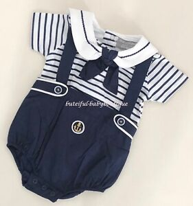 Baby Boy Navy Checked Trousers with Braces /& Top Traditional Spanish Outfit