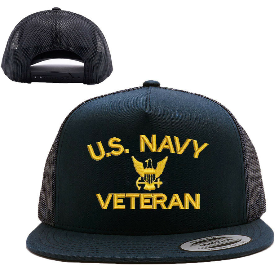 U.S. SNAP NAVY VETERAN MESH TRUCKER SNAP U.S. CLOSURE CAP HAT BLACK 8afc70