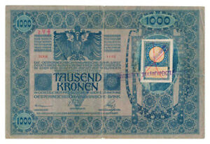 YUGOSLAVIA-banknote-1000-Kronen-1919-cyrillic-stamp-Pick-10-VF