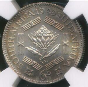 South-Africa-1949-6-Pence-George-VI-Silver-NGC-PF64-Proof