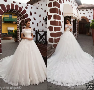 Image Is Loading Princess Short Sleeves Wedding Dress 2018 Off