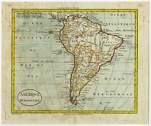 Map Of America Ebay.Details About Antique Map South America Blondeau 1790