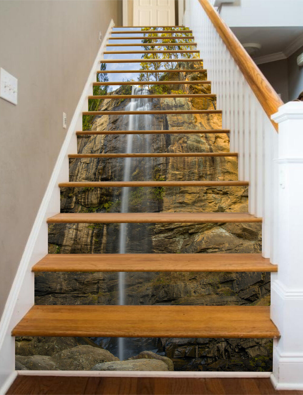 3D Cliff Waterfall 227 Risers Decoration Photo Mural Vinyl Decal Wallpaper CA
