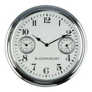 Wall Clock Chrome Finish 2 Smaller Clocks Within The Large