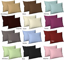 2 X Luxury Percale Non-iron Plain Dyed Poly Cotton Housewife Pillow Cases Red
