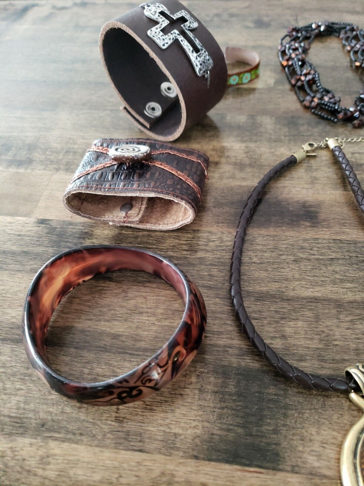 Costume Jewelry Lot Brown Necklace Bracelet Earin… - image 3
