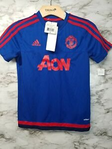 Details about ADIDAS MANCHESTER UNITED TRAINING JERSEY 2015/16 Blue/Red YOUTH S NEW