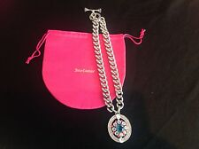 NIB Juicy Couture New Genuine Silver Chain Necklace With Large Diamante Pendant