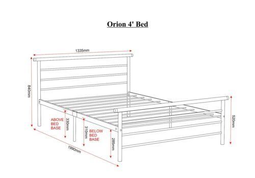 ORION BED FRAME IN 4ft SMALL DOUBLE SIZE