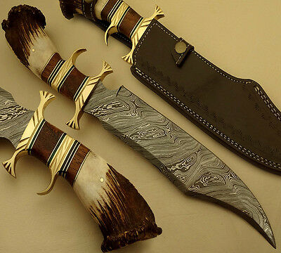 SUPERB HAND MADE DAMASCUS STEEL HUNTING KNIFE / BOWIE KNIFE / STAG ANTLER