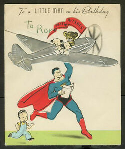 Early 1940s superman birthday card scarce ebay image is loading early 1940 039 s 034 superman 034 birthday bookmarktalkfo Image collections