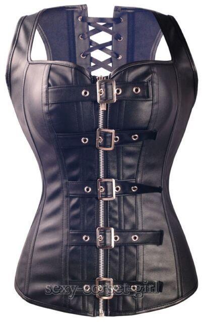 Goth Black Faux Leather Bustier Steampunk waistcoat Zipper Corset SZ S-6XL A2934