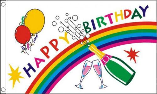 5/' x 3/' Happy Birthday Flag Bottle Balloons Rainbow Party Celebration Banner