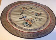 Chinese Silk Embroidery Bird Textile Bird Butterfly Blossoms Round Vintage