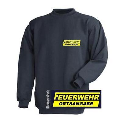 Feuerwehr Sweat-Shirt navy mit Ortsangabe Brust und Rückenaufdruck neongelb.