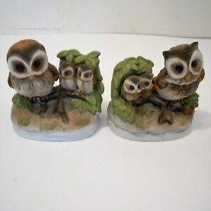 HOMCO Owl Family Figurines Mamma and Baby Owls Porcelain Ceramic #1298