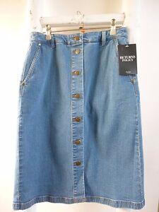 REDUCED-BNWT-Pure-Collection-blue-denim-button-through-boho-hippy-skirt-size-8