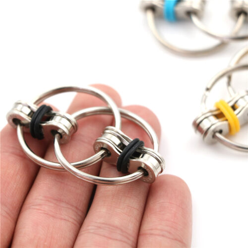 Bicycle Chain Fidget Metal Hand Spinner Key Ring Sensory Toy Stress Relieve M/&C