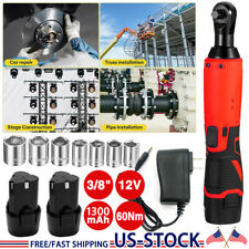 38 12v Cordless Electric Ratchet Kit Right Angle Wrench Tool 2 Battery