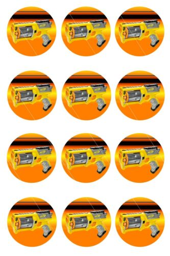 12 Nerf Gun Edible Icing Image Cupcake Birthday Party Decoration Toppers