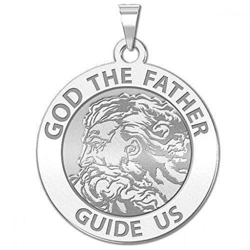 Dieu le père ronde religieux médaille 3//4 pouces Taille de nickel-sterling silve