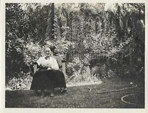 Backyard Portrait GRANDMA Vintage FOUND PHOTOGRAPH bw Original Portrait 04 14 S