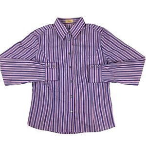 RM-Williams-Women-s-Semi-Fitted-Long-Sleeve-Pink-Purple-Striped-Shirt-Size-10