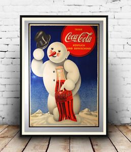 Coca-Cola-snow-man-Old-Magazine-Soft-drink-Advertising-poster-reproduction